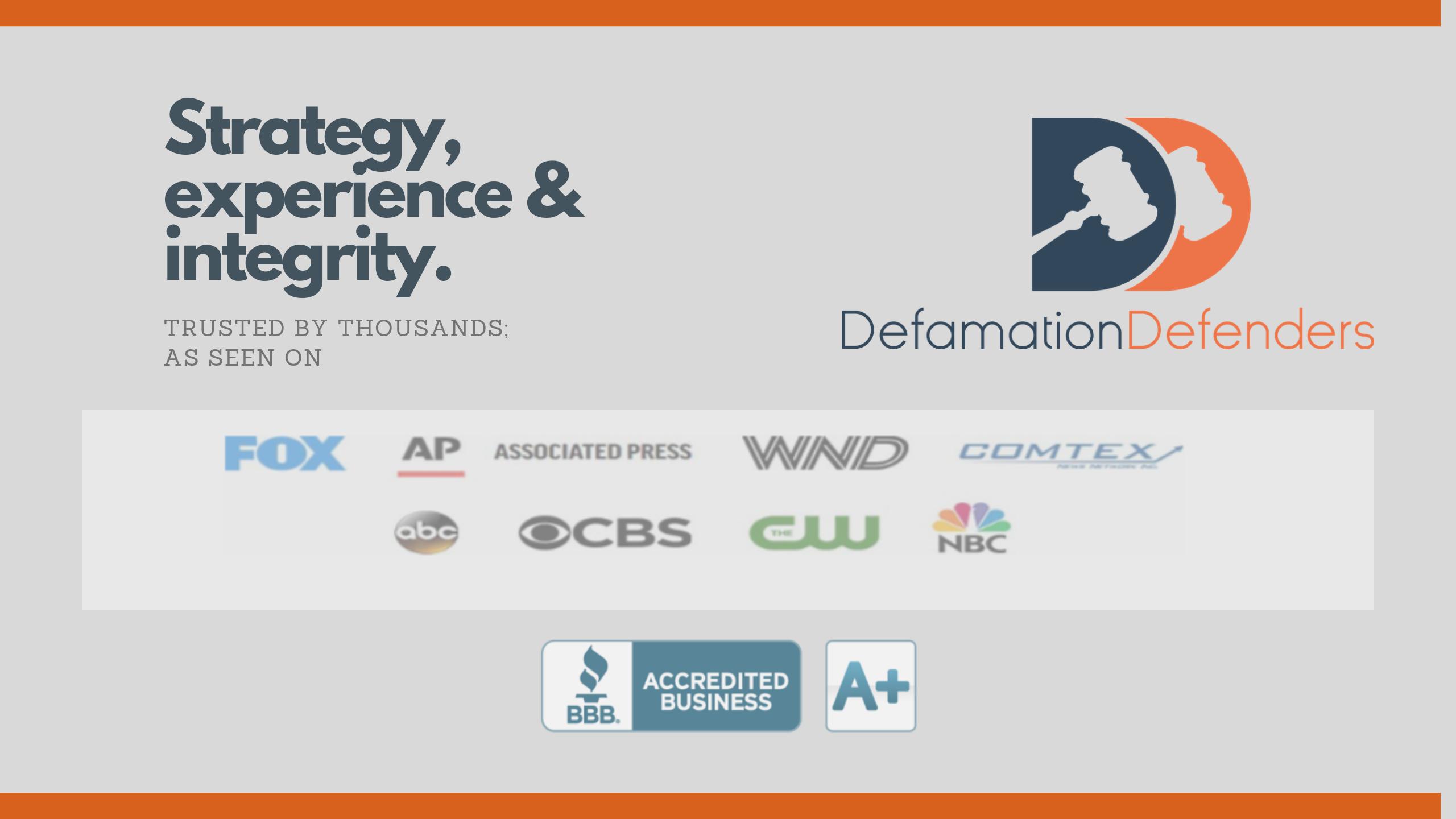 Defamation Defenders online reputation management Press BBB